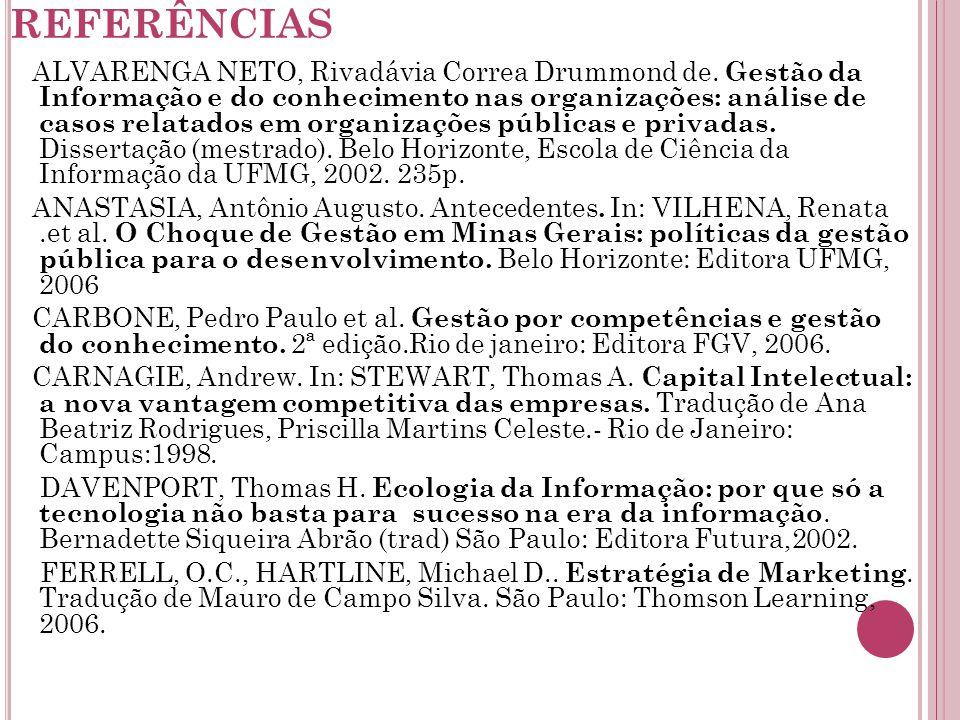 REFERÊNCIAS ALVARENGA NETO, Rivadávia Correa Drummond de.