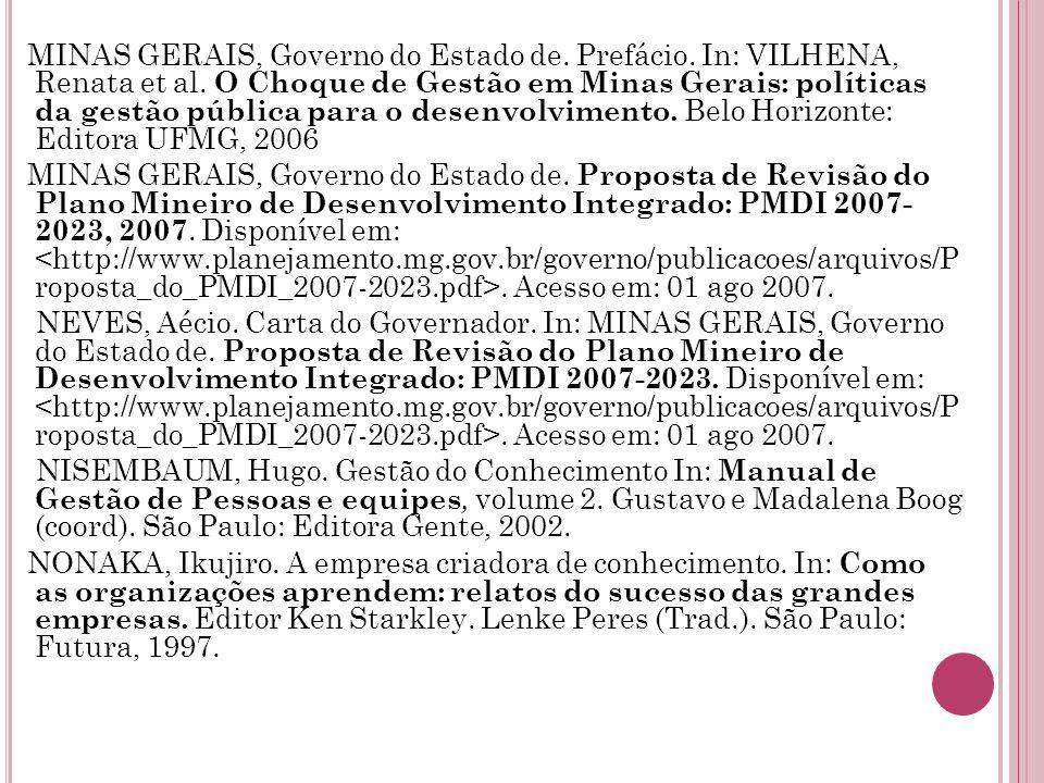 MINAS GERAIS, Governo do Estado de.Prefácio. In: VILHENA, Renata et al.
