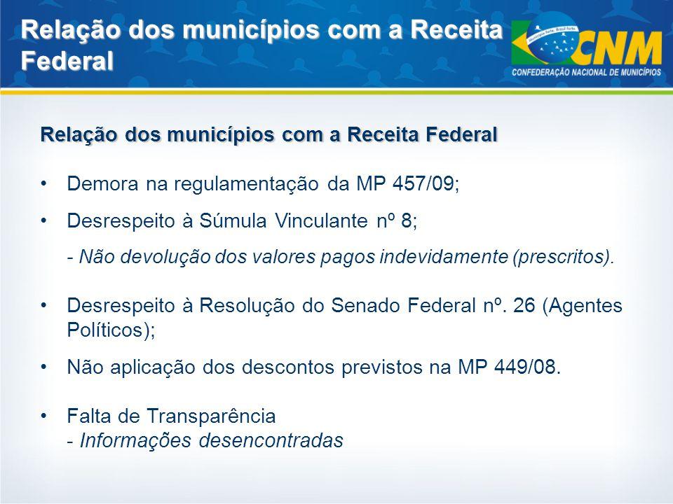 Relação dos municípios com a Receita Federal Demora na regulamentação da MP 457/09; Desrespeito à Súmula Vinculante nº 8; - Não devolução dos valores