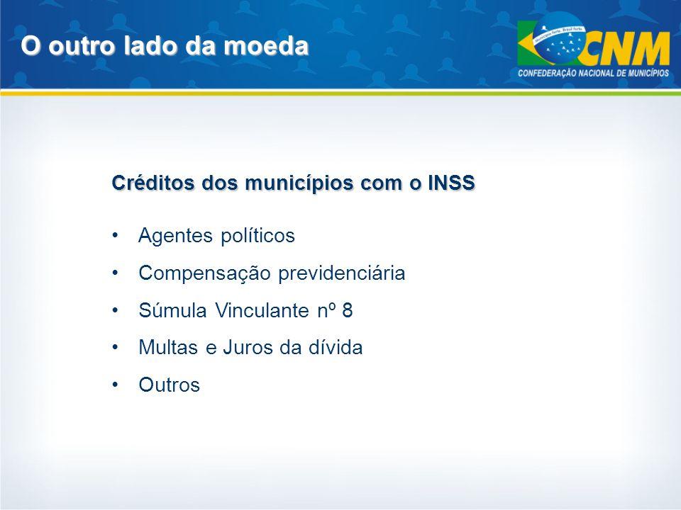O outro lado da moeda Créditos dos municípios com o INSS Agentes políticos Compensação previdenciária Súmula Vinculante nº 8 Multas e Juros da dívida
