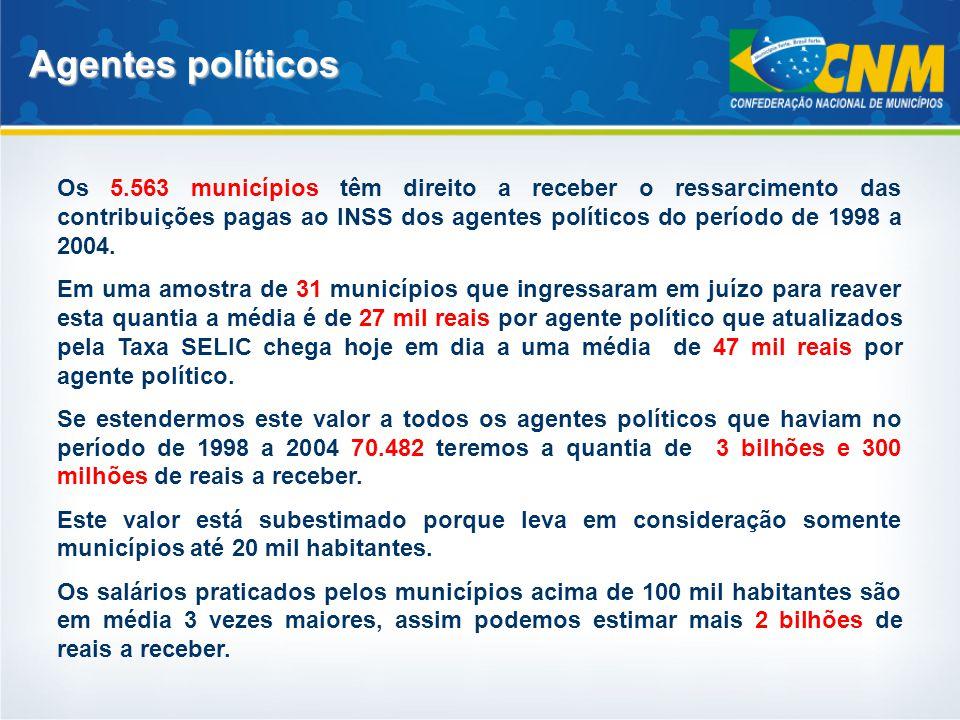 Agentes políticos Os 5.563 municípios têm direito a receber o ressarcimento das contribuições pagas ao INSS dos agentes políticos do período de 1998 a