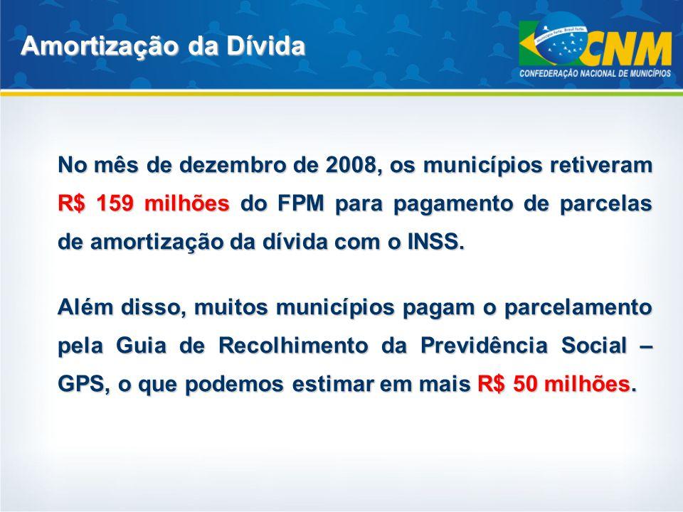 No mês de dezembro de 2008, os municípios retiveram R$ 159 milhõesdo FPM para pagamento de parcelas de amortização da dívida com o INSS. No mês de dez