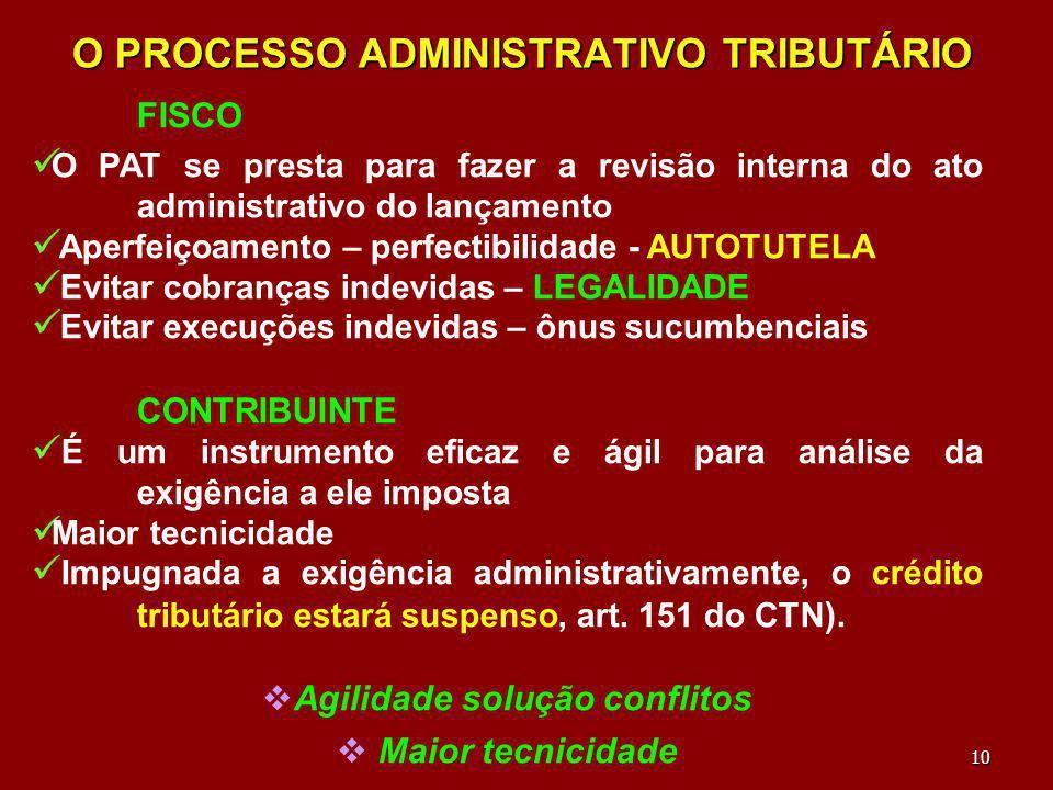 10 O PROCESSO ADMINISTRATIVO TRIBUTÁRIO FISCO O PAT se presta para fazer a revisão interna do ato administrativo do lançamento Aperfeiçoamento – perfe