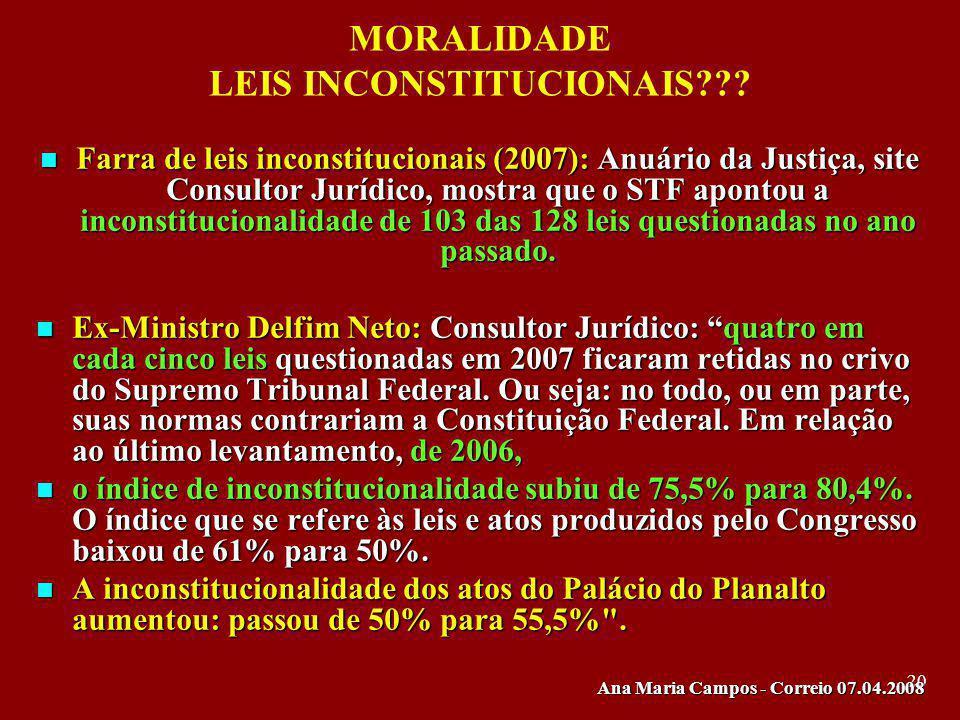 20 MORALIDADE LEIS INCONSTITUCIONAIS??? Farra de leis inconstitucionais (2007): Anuário da Justiça, site Consultor Jurídico, mostra que o STF apontou