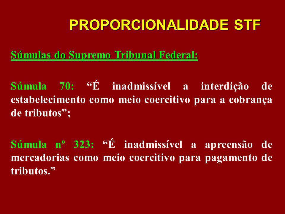 PROPORCIONALIDADE STF Súmulas do Supremo Tribunal Federal: Súmula 70: É inadmissível a interdição de estabelecimento como meio coercitivo para a cobra