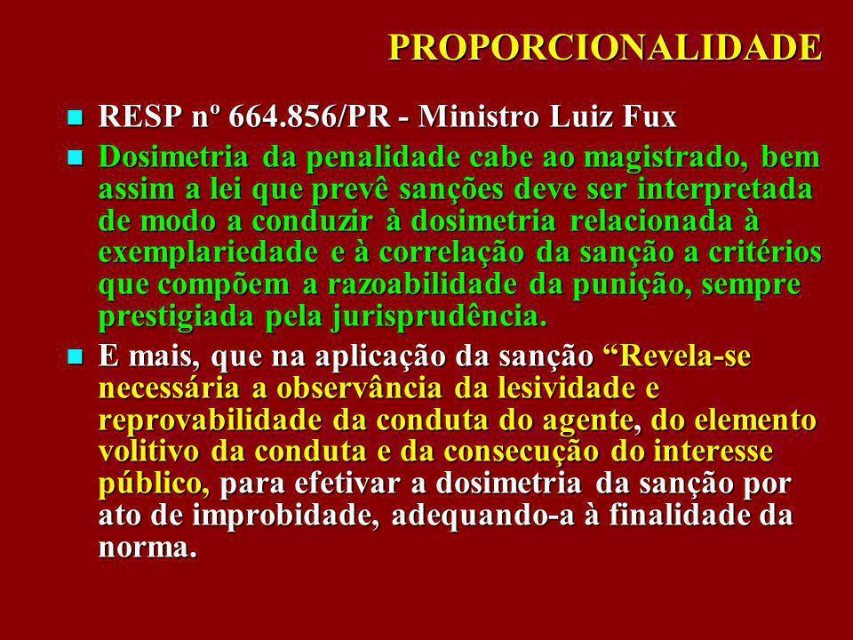 PROPORCIONALIDADE RESP nº 664.856/PR - Ministro Luiz Fux RESP nº 664.856/PR - Ministro Luiz Fux Dosimetria da penalidade cabe ao magistrado, bem assim