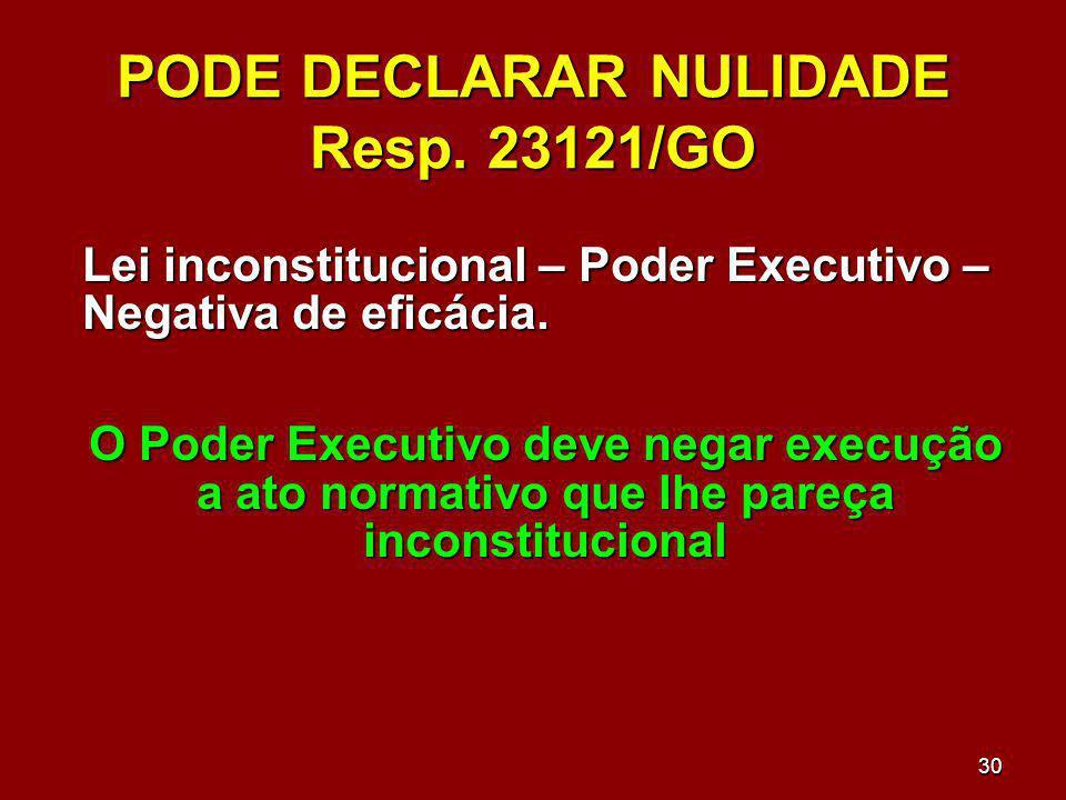 30 PODE DECLARAR NULIDADE Resp. 23121/GO Lei inconstitucional – Poder Executivo – Negativa de eficácia. O Poder Executivo deve negar execução a ato no