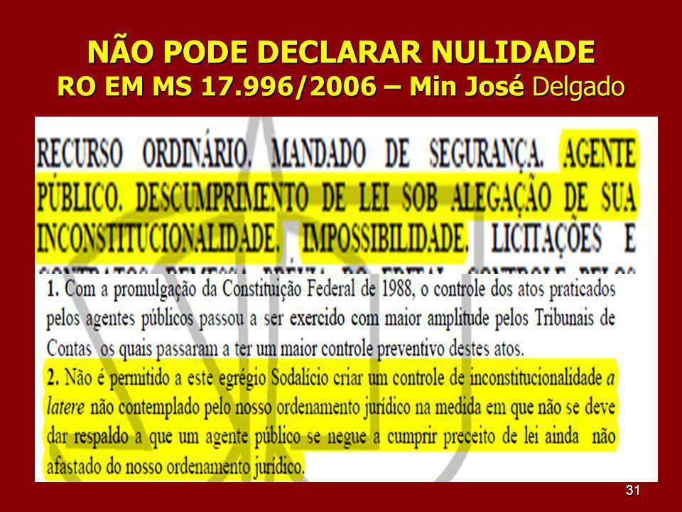 NÃO PODE DECLARAR NULIDADE RO EM MS 17.996/2006 – Min José Delgado 31
