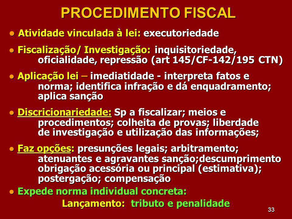 33 PROCEDIMENTO FISCAL Atividade vinculada à lei: executoriedade Atividade vinculada à lei: executoriedade Fiscalização/ Investigação:inquisitoriedade