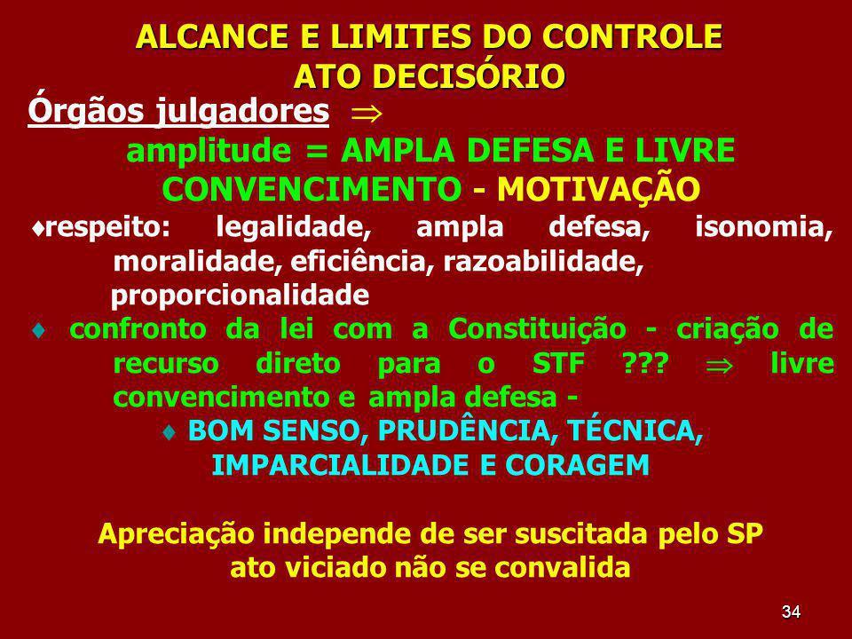34 ALCANCE E LIMITES DO CONTROLE ATO DECISÓRIO Órgãos julgadores amplitude = AMPLA DEFESA E LIVRE CONVENCIMENTO - MOTIVAÇÃO respeito: legalidade, ampl