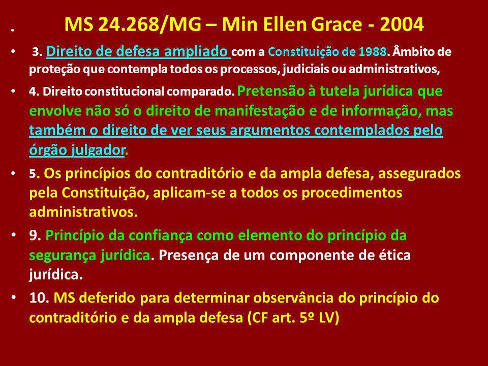 MS 24.268/MG – Min Ellen Grace - 2004 3. Direito de defesa ampliado com a Constituição de 1988. Âmbito de proteção que contempla todos os processos, j
