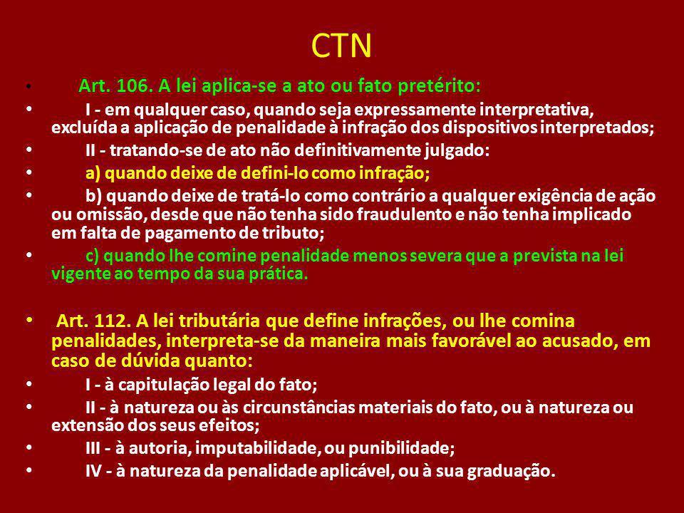 CTN Art. 106. A lei aplica-se a ato ou fato pretérito: I - em qualquer caso, quando seja expressamente interpretativa, excluída a aplicação de penalid