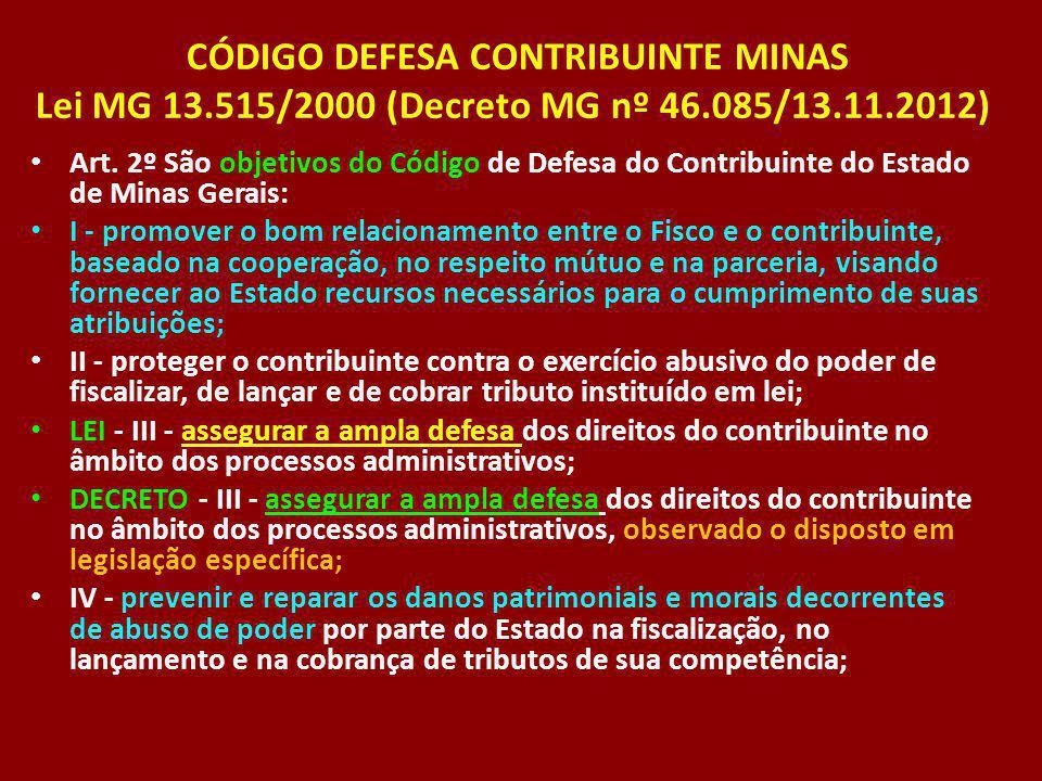 CÓDIGO DEFESA CONTRIBUINTE MINAS Lei MG 13.515/2000 (Decreto MG nº 46.085/13.11.2012) Art. 2º São objetivos do Código de Defesa do Contribuinte do Est