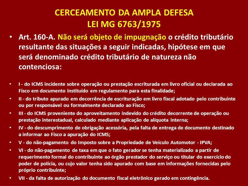 CERCEAMENTO DA AMPLA DEFESA LEI MG 6763/1975 Art. 160-A. Não será objeto de impugnação o crédito tributário resultante das situações a seguir indicada