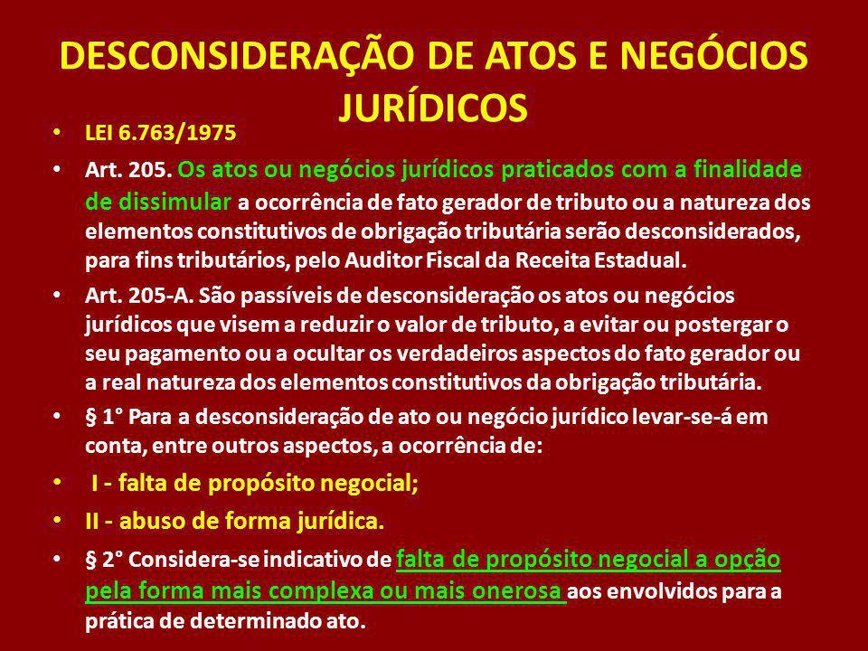 DESCONSIDERAÇÃO DE ATOS E NEGÓCIOS JURÍDICOS LEI 6.763/1975 Art. 205. Os atos ou negócios jurídicos praticados com a finalidade de dissimular a ocorrê