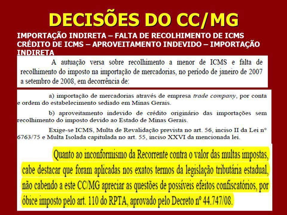 DECISÕES DO CC/MG IMPORTAÇÃO INDIRETA – FALTA DE RECOLHIMENTO DE ICMS CRÉDITO DE ICMS – APROVEITAMENTO INDEVIDO – IMPORTAÇÃO INDIRETA