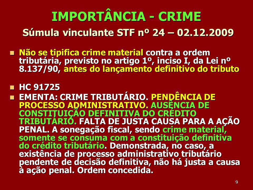 9 IMPORTÂNCIA - CRIME Súmula vinculante STF nº 24 – 02.12.2009 Não se tipifica crime material contra a ordem tributária, previsto no artigo 1º, inciso