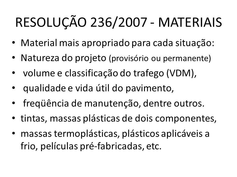 RESOLUÇÃO 236/2007 - MATERIAIS Material mais apropriado para cada situação: Natureza do projeto (provisório ou permanente) volume e classificação do t