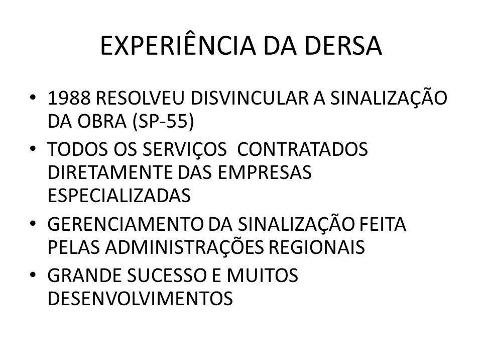 EXPERIÊNCIA DA DERSA 1988 RESOLVEU DISVINCULAR A SINALIZAÇÃO DA OBRA (SP-55) TODOS OS SERVIÇOS CONTRATADOS DIRETAMENTE DAS EMPRESAS ESPECIALIZADAS GER