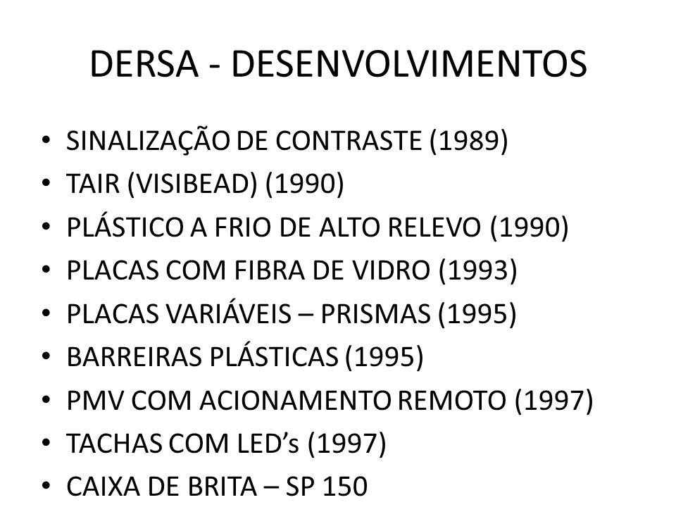 DERSA - DESENVOLVIMENTOS SINALIZAÇÃO DE CONTRASTE (1989) TAIR (VISIBEAD) (1990) PLÁSTICO A FRIO DE ALTO RELEVO (1990) PLACAS COM FIBRA DE VIDRO (1993)