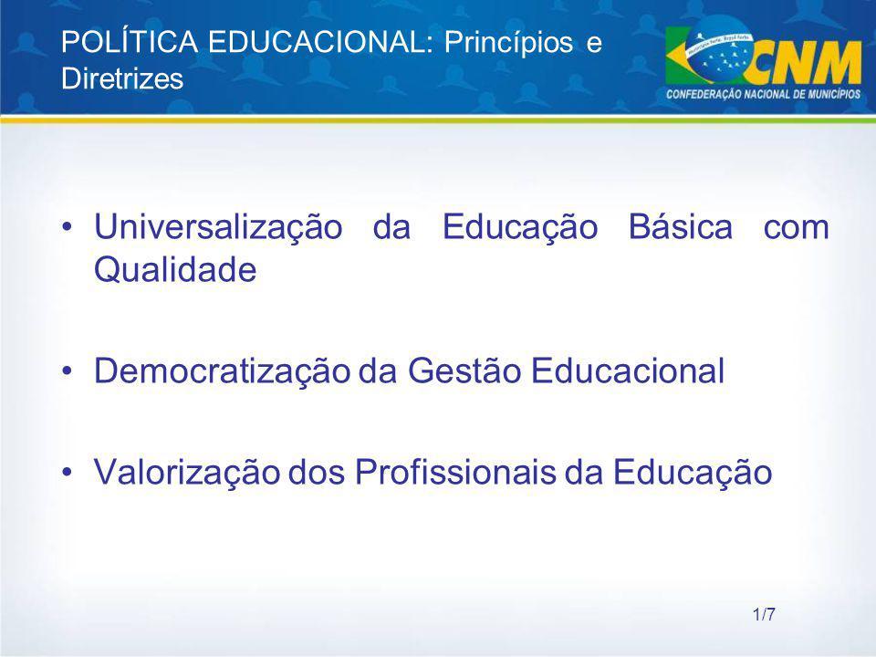 POLÍTICA EDUCACIONAL: Princípios e Diretrizes Universalização da Educação Básica com Qualidade Democratização da Gestão Educacional Valorização dos Pr