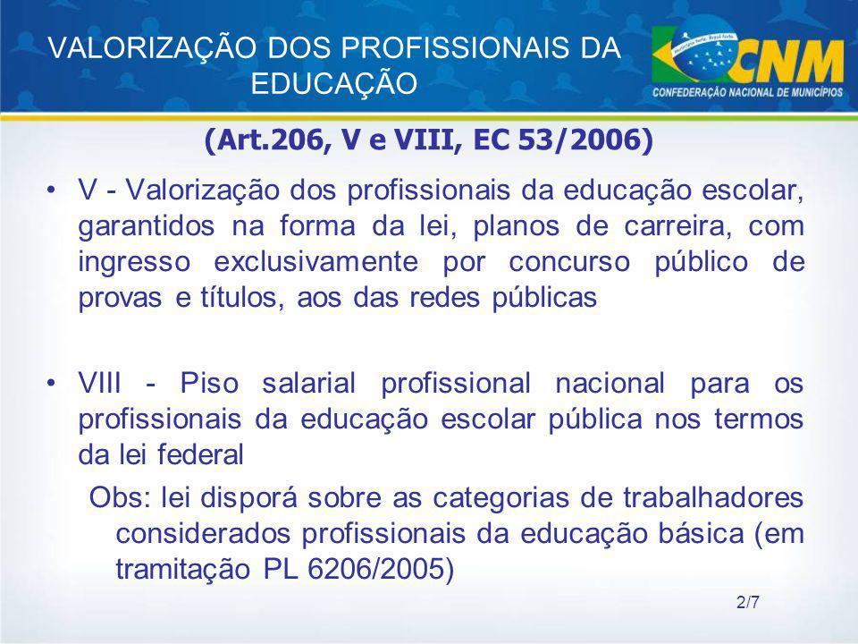 VALORIZAÇÃO DOS PROFISSIONAIS DA EDUCAÇÃO V - Valorização dos profissionais da educação escolar, garantidos na forma da lei, planos de carreira, com i