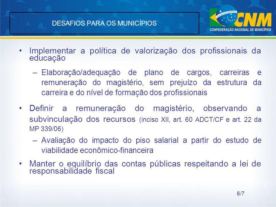 DESAFIOS PARA OS MUNICÍPIOS Implementar a política de valorização dos profissionais da educação –Elaboração/adequação de plano de cargos, carreiras e