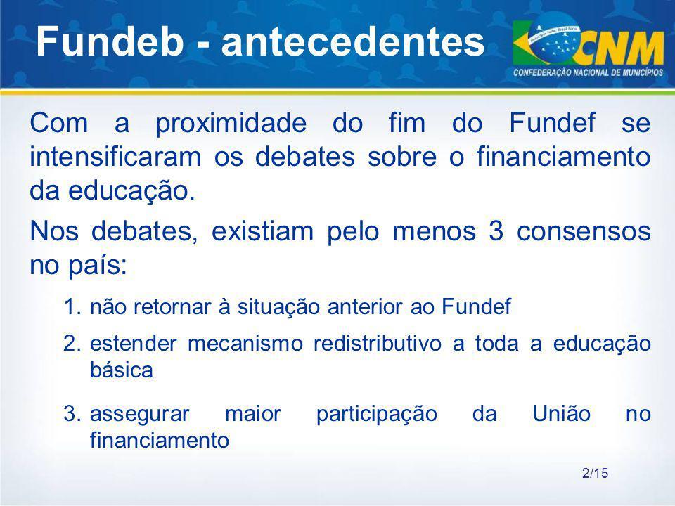 Com a proximidade do fim do Fundef se intensificaram os debates sobre o financiamento da educação. Nos debates, existiam pelo menos 3 consensos no paí