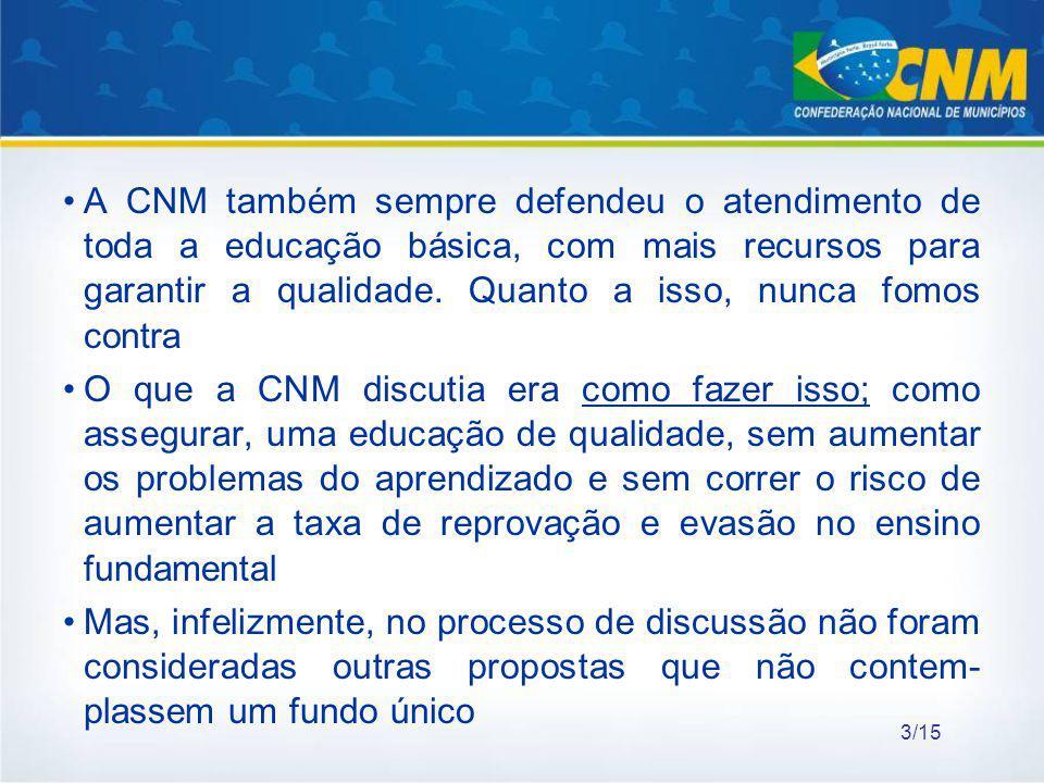 A CNM também sempre defendeu o atendimento de toda a educação básica, com mais recursos para garantir a qualidade. Quanto a isso, nunca fomos contra O