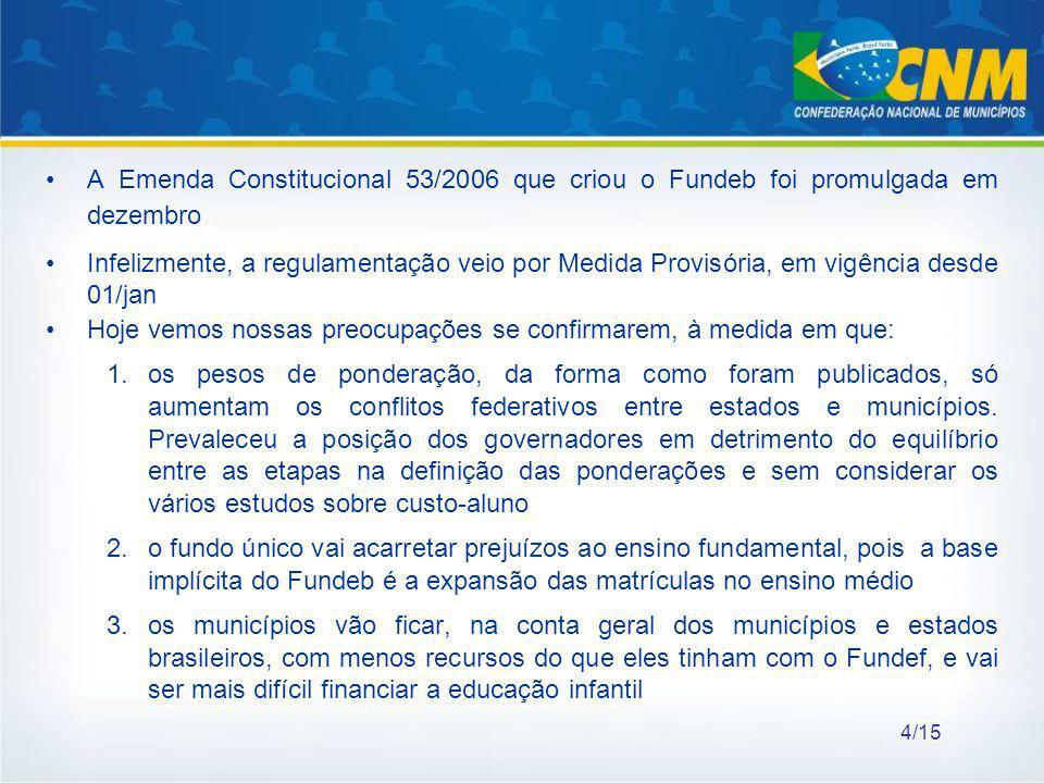 A Emenda Constitucional 53/2006 que criou o Fundeb foi promulgada em dezembro Infelizmente, a regulamentação veio por Medida Provisória, em vigência d