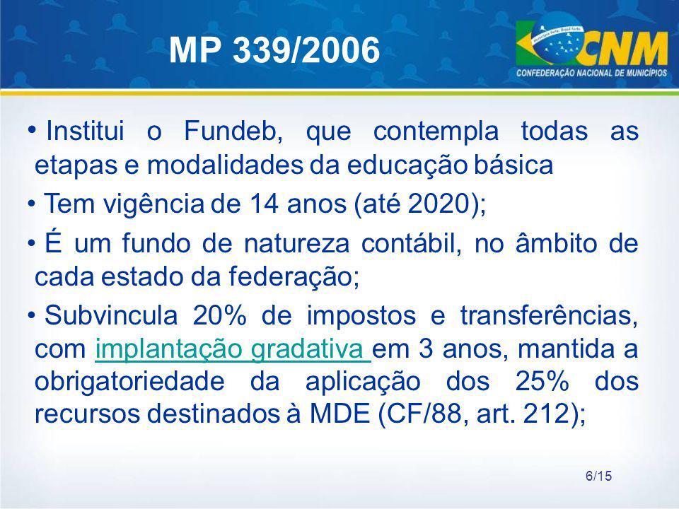 MP 339/2006 Institui o Fundeb, que contempla todas as etapas e modalidades da educação básica Tem vigência de 14 anos (até 2020); É um fundo de nature