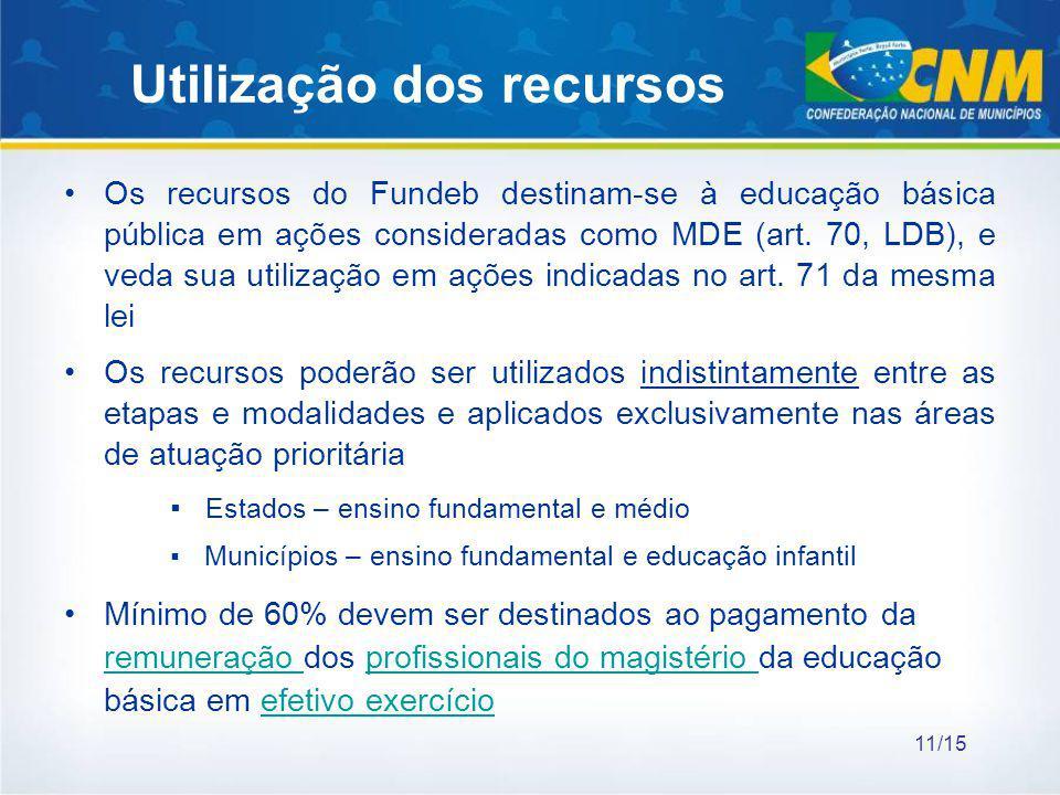 Utilização dos recursos Os recursos do Fundeb destinam-se à educação básica pública em ações consideradas como MDE (art. 70, LDB), e veda sua utilizaç