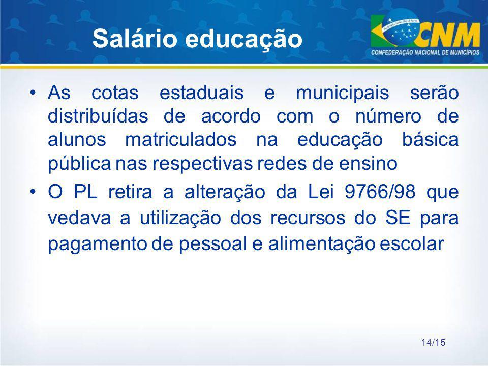Salário educação As cotas estaduais e municipais serão distribuídas de acordo com o número de alunos matriculados na educação básica pública nas respe