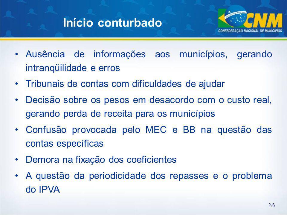 Início conturbado Ausência de informações aos municípios, gerando intranqüilidade e erros Tribunais de contas com dificuldades de ajudar Decisão sobre