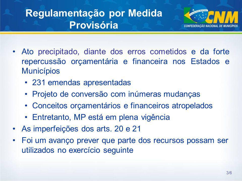 Regulamentação por Medida Provisória Ato precipitado, diante dos erros cometidos e da forte repercussão orçamentária e financeira nos Estados e Municí