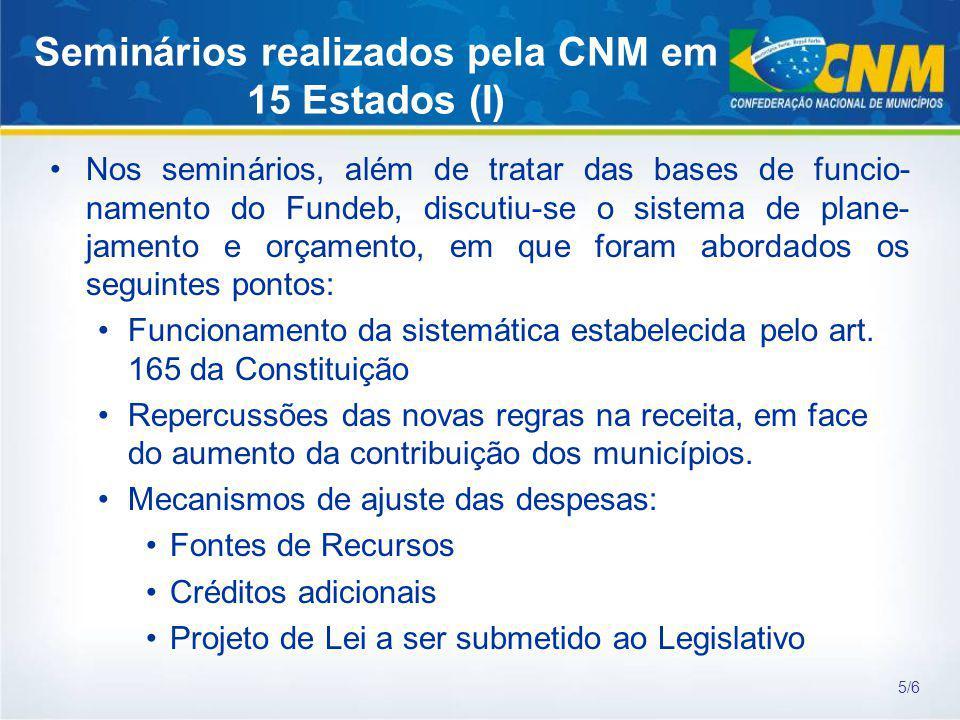Seminários realizados pela CNM em 15 Estados (I) Nos seminários, além de tratar das bases de funcio- namento do Fundeb, discutiu-se o sistema de plane