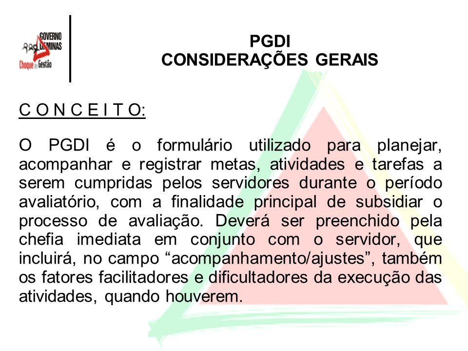 PGDI CONSIDERAÇÕES GERAIS C O N C E I T O: O PGDI é o formulário utilizado para planejar, acompanhar e registrar metas, atividades e tarefas a serem c