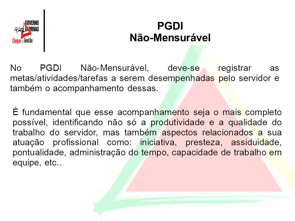 PGDI Não-Mensurável No PGDI Não-Mensurável, deve-se registrar as metas/atividades/tarefas a serem desempenhadas pelo servidor e também o acompanhament