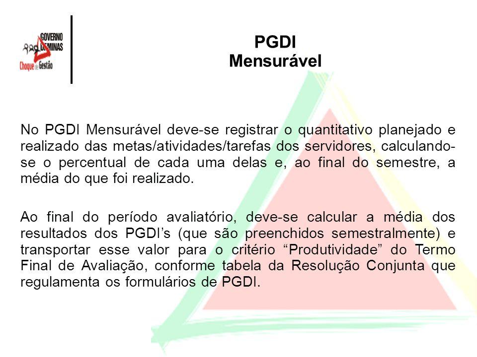 PGDI Mensurável No PGDI Mensurável deve-se registrar o quantitativo planejado e realizado das metas/atividades/tarefas dos servidores, calculando- se