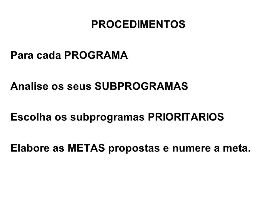 PROCEDIMENTOS Para cada PROGRAMA Analise os seus SUBPROGRAMAS Escolha os subprogramas PRIORITARIOS Elabore as METAS propostas e numere a meta.