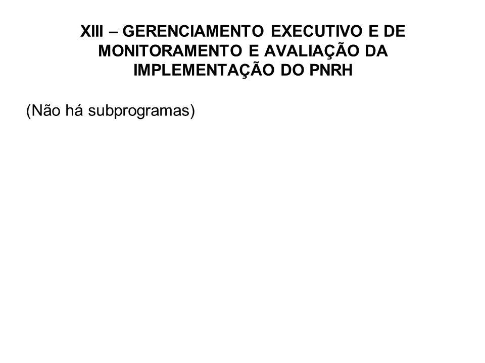 XIII – GERENCIAMENTO EXECUTIVO E DE MONITORAMENTO E AVALIAÇÃO DA IMPLEMENTAÇÃO DO PNRH (Não há subprogramas)