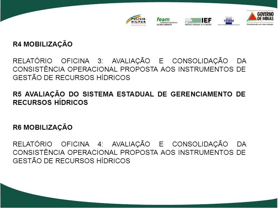 R4 MOBILIZAÇÃO RELATÓRIO OFICINA 3: AVALIAÇÃO E CONSOLIDAÇÃO DA CONSISTÊNCIA OPERACIONAL PROPOSTA AOS INSTRUMENTOS DE GESTÃO DE RECURSOS HÍDRICOS R5 AVALIAÇÃO DO SISTEMA ESTADUAL DE GERENCIAMENTO DE RECURSOS HÍDRICOS R6 MOBILIZAÇÃO RELATÓRIO OFICINA 4: AVALIAÇÃO E CONSOLIDAÇÃO DA CONSISTÊNCIA OPERACIONAL PROPOSTA AOS INSTRUMENTOS DE GESTÃO DE RECURSOS HÍDRICOS