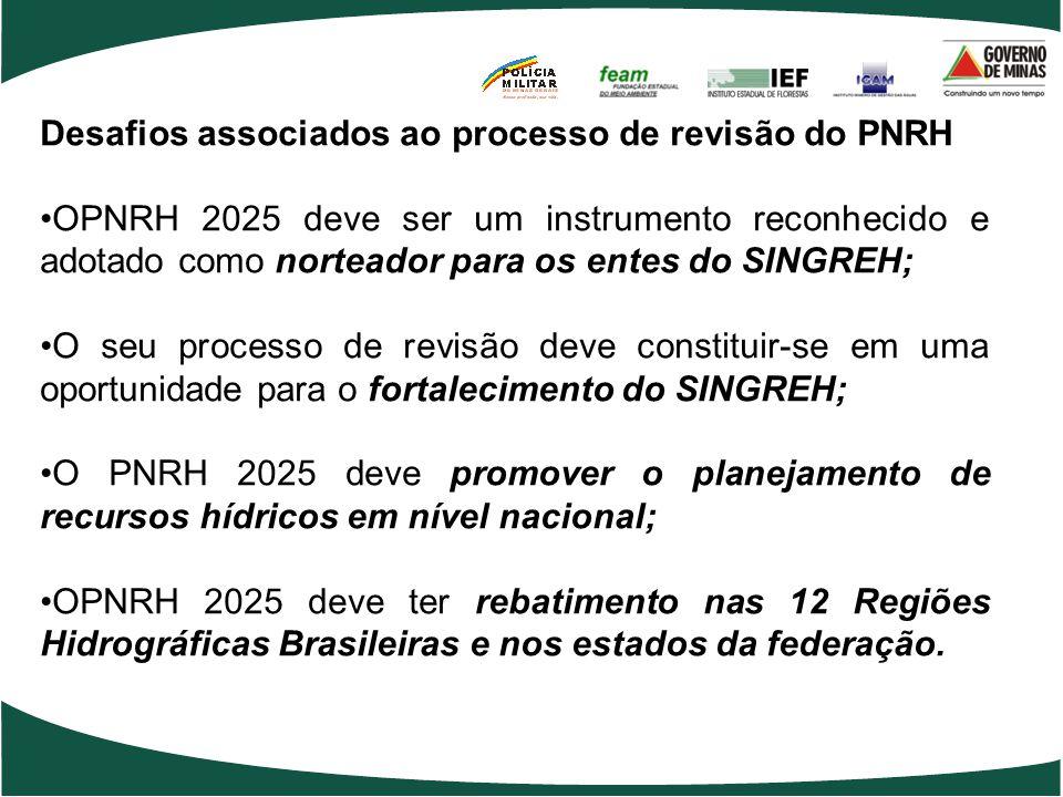 Desafios associados ao processo de revisão do PNRH OPNRH 2025 deve ser um instrumento reconhecido e adotado como norteador para os entes do SINGREH; O seu processo de revisão deve constituir-se em uma oportunidade para o fortalecimento do SINGREH; O PNRH 2025 deve promover o planejamento de recursos hídricos em nível nacional; OPNRH 2025 deve ter rebatimento nas 12 Regiões Hidrográficas Brasileiras e nos estados da federação.
