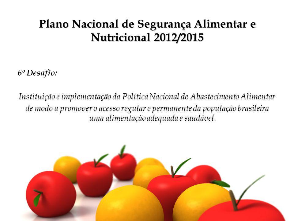 Plano Nacional de Segurança Alimentar e Nutricional 2012/2015 6º Desafio: Instituição e implementação da Política Nacional de Abastecimento Alimentar de modo a promover o acesso regular e permanente da população brasileira uma alimentação adequada e saudável.