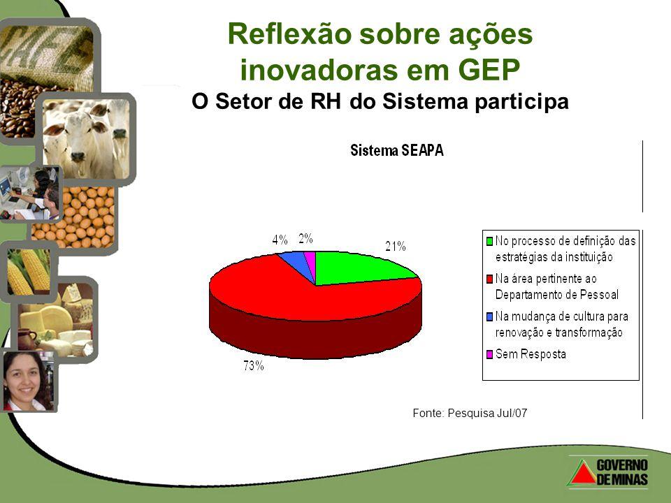 Reflexão sobre ações inovadoras em GEP O Setor de RH do Sistema participa Fonte: Pesquisa Jul/07