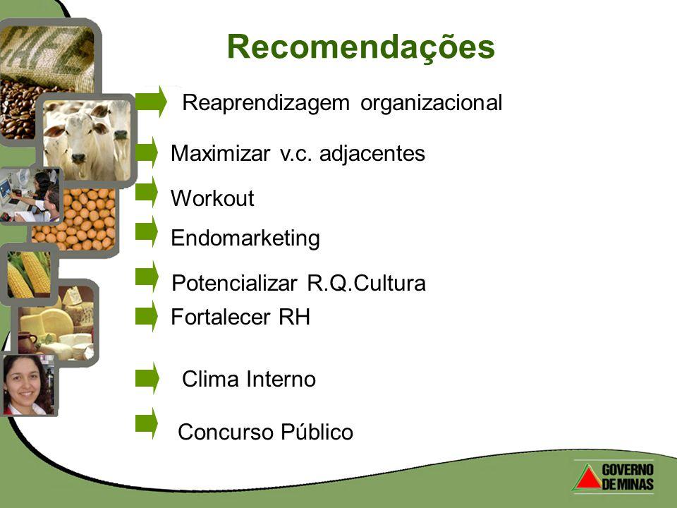 Recomendações Concurso Público Reaprendizagem organizacional Maximizar v.c. adjacentes WorkoutEndomarketingPotencializar R.Q.Cultura Fortalecer RH Cli