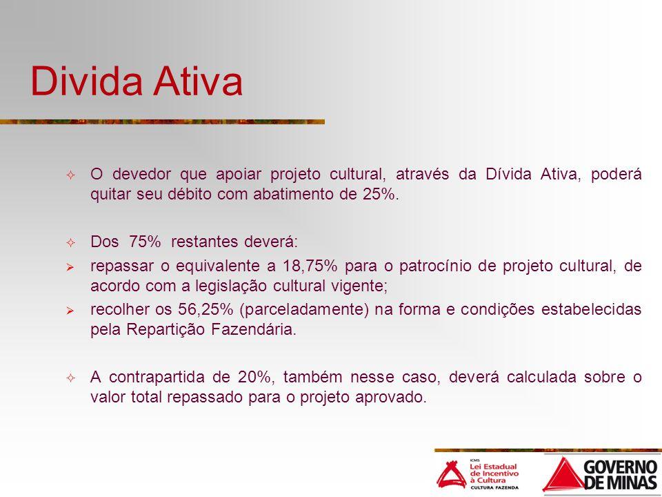 Divida Ativa O devedor que apoiar projeto cultural, através da Dívida Ativa, poderá quitar seu débito com abatimento de 25%. Dos 75% restantes deverá: