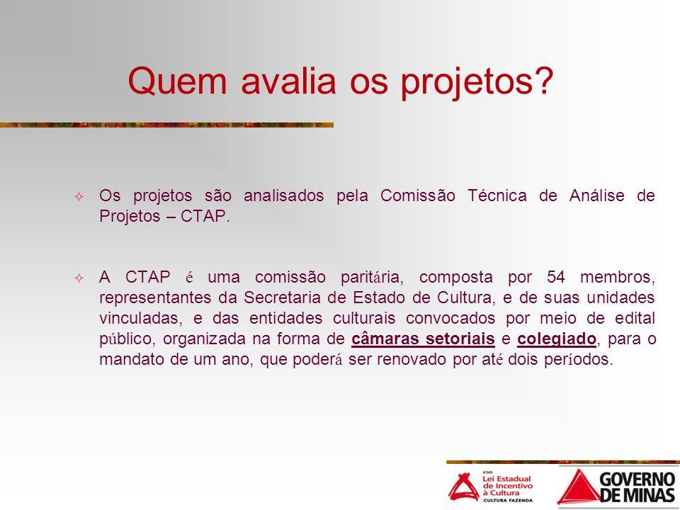 Quem avalia os projetos? Os projetos são analisados pela Comissão Técnica de Análise de Projetos – CTAP. A CTAP é uma comissão parit á ria, composta p