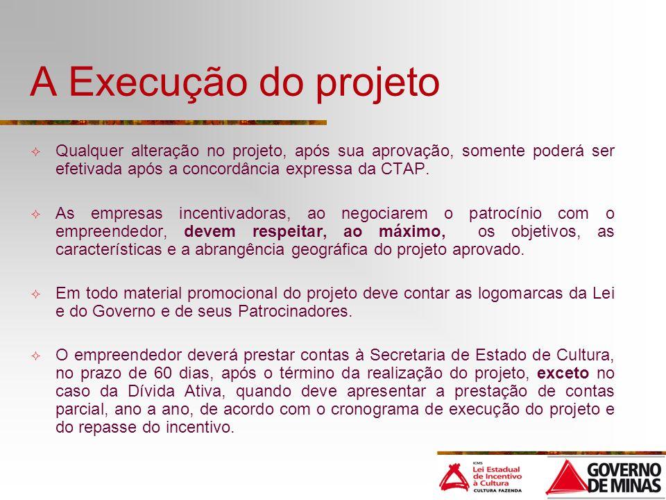A Execução do projeto Qualquer alteração no projeto, após sua aprovação, somente poderá ser efetivada após a concordância expressa da CTAP. As empresa