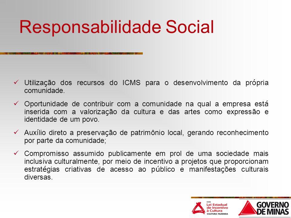 Responsabilidade Social Utiliza ç ão dos recursos do ICMS para o desenvolvimento da pr ó pria comunidade. Oportunidade de contribuir com a comunidade